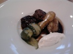 beef & pork meatballs with new potato, sour cream & dill pickle