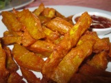 Deep Fried Pumpkin with Red Curry Sauce