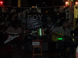Warren performing in Anusarn Market with the Boy Blues Band