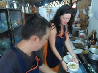 Duang and Sophie in the kitchen